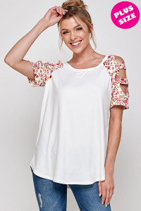 C16-A-2-WT6208C-1X IVORY PLUS SIZE TOP 2-2-2