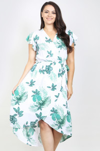 S4-8-2-D8539X IVORY GREEN PLUS SIZE DRESS 1-2-1