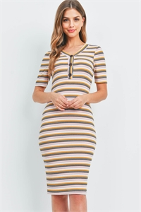 C58-A-1-D51062-PJ542 MUSTARD MAUVE STRIPES DRESS 2-3