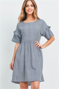C72-A-1-D51034-CK386 NAVY CHECKERED DRESS 2-2-2