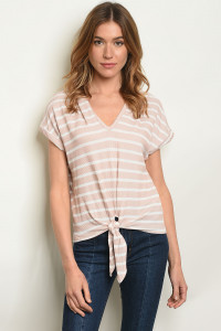 S10-14-1-T5375 TAUPE WHITE STRIPES TOP 2-2-2