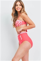 S12-12-2-S072 FUCHSIA WITH DOTS 2 PIECE SWIMSUIT 2-2-2-2