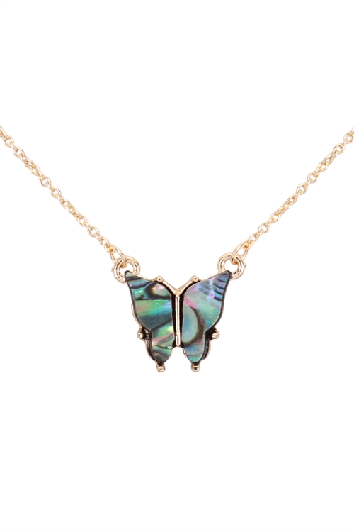 S6-6-2-CS1341GABL - NATURAL MOP BUTTERFLY  PENDANT NECKLACE - GOLD ABALONE/6PCS