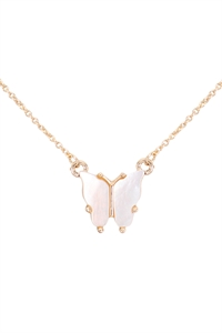 S6-6-2-CS1341GD - NATURAL MOP BUTTERFLY  PENDANT NECKLACE - GOLD/6PCS