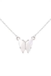 S6-6-2-CS1341SL - NATURAL MOP BUTTERFLY  PENDANT NECKLACE - SILVER/6PCS
