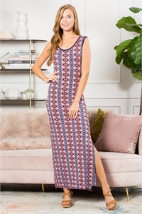 S13-6-3-D10726-NVRST-1 - KEYHOLE BACK TRIBAL MAXI DRESS- NAVY/RUST 3-3-1-0