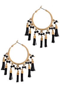 S1-5-3-LBE1633JT JET GOLD HOOP WITH MULTIPLE TASSELS EARRING/3PAIRS
