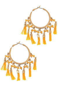 S1-5-3-LBE1633MS MUSTARD GOLD HOOP WITH MULTIPLE TASSELS EARRING/3PAIRS
