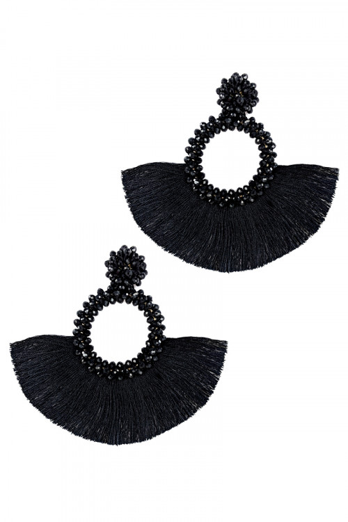S1-2-1-LBE1705JT JET BLACK BEADED WITH MATCHING TASSEL EARRINGS/3PAIRS
