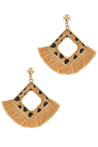 S1-5-3-LBE2101AP GOLD SQUARED ANIMAL PRINT WITH TASSEL EARRING/6PAIRS