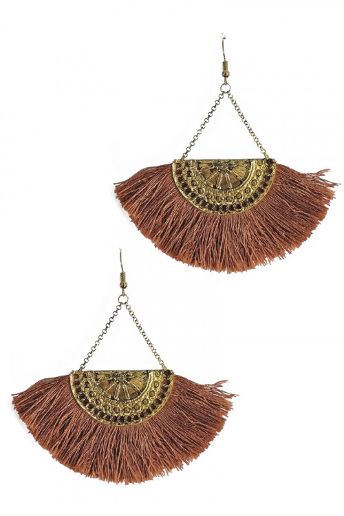 S1-5-4-LBE2121BR BROWN TASSEL DROP FASHION EARRINGS/3PAIRS