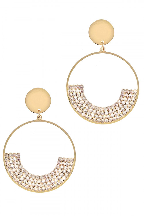 S1-4-4-LBE2165GD GOLD HOOP RHINESTONE EARRINGS/3PAIRS