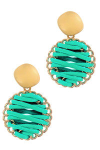 S1-2-3-LBE2179AQ TURQUOISE BRAIDED LEATHER WITH MATTE GOLD EARRINGS/3PAIRS