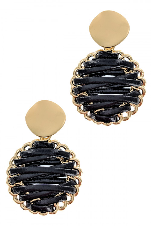 S1-2-2-LBE2179BK BLACK BRAIDED LEATHER WITH MATTE GOLD EARRINGS/3PAIRS