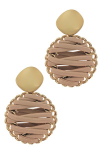 S1-2-2-LBE2179KH KHAKI BRAIDED LEATHER WITH MATTE GOLD EARRINGS/3PAIRS