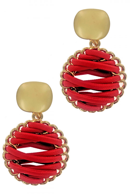S1-2-2-LBE2179RD RED BRAIDED LEATHER WITH MATTE GOLD EARRINGS/3PAIRS
