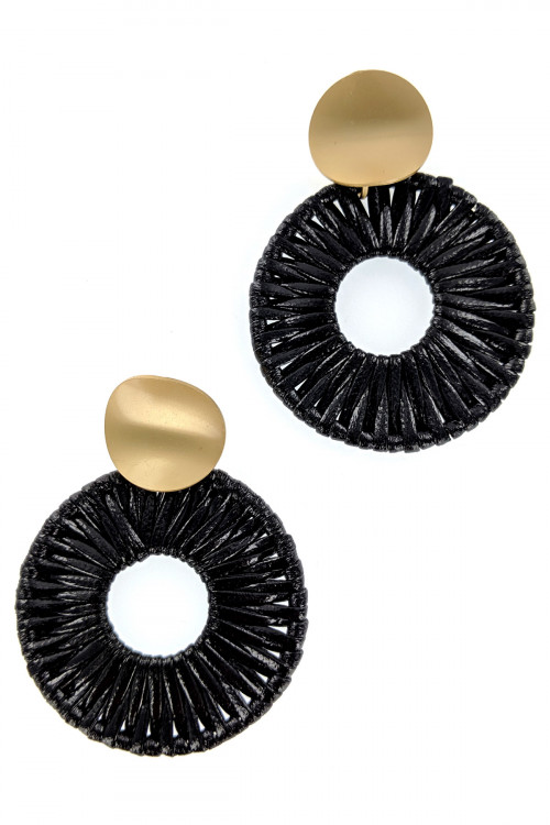 S1-2-3-LBE2181BK BLACK BRAIDED LEAHTER FASHION EARRINGS/3PAIRS