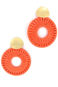 S1-2-3-LBE2181OR ORANGE BRAIDED LEATHER FASHION EARRINGS/3PAIRS