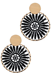 S1-3-2-LBE2182BK BLACK EMBROIDERY FASHION EARRINGS/3PAIRS