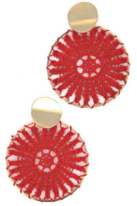 S1-1-4-LBE2182RD RED EMBROIDERY FASHION EARRINGS/3PAIRS
