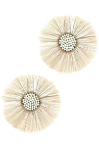 S1-1-3-LBE2183BG FLOWER RAFIA FASHION EARRINGS/3PAIRS