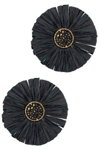 S1-1-3-LBE2183BK FLOWER RAFIA FASHION EARRINGS/3PAIRS