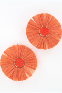 S1-1-2-LBE2183OR FLOWER RAFIA FASHION EARRINGS/3PAIRS