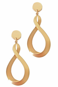S1-1-4-LBE2193GD MATTE GOLD TEAR DROP FASHION EARRINGS/3PAIRS