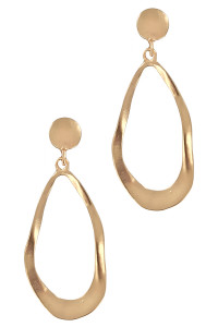 S1-4-3-LBE2194GD GOLD TEARDROP MATTE GOLD FASHION EARRING/3PAIRS