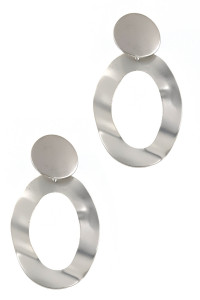 S1-1-3-LBE2195 MATTE SILVER OVAL FASHION EARRINGS/3PAIRS
