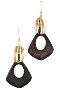 S1-2-2-LBE2200 GOLD AND WOOD FASHION EARRINGS/3PAIRS