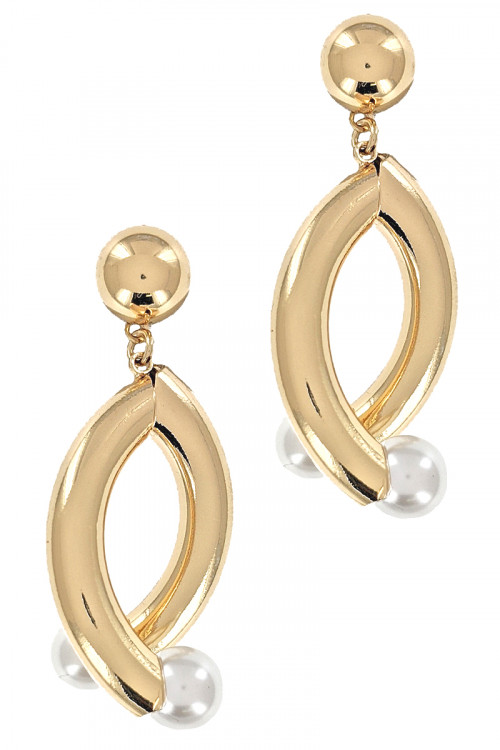 S1-1-3-LBE2203GD GOLD FASHION EARRINGS WITH PEARL/3PAIRS