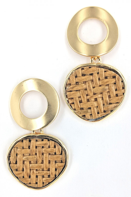 S1-2-2-LBE2204GD GOLD CIRCLE AND BRAIDE FASHION EARRINGS/3PAIRS