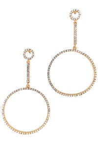 S1-2-2-LBE2225GD GOLD HOOP RHINESTONE FASHION EARRINGS/3PAIRS