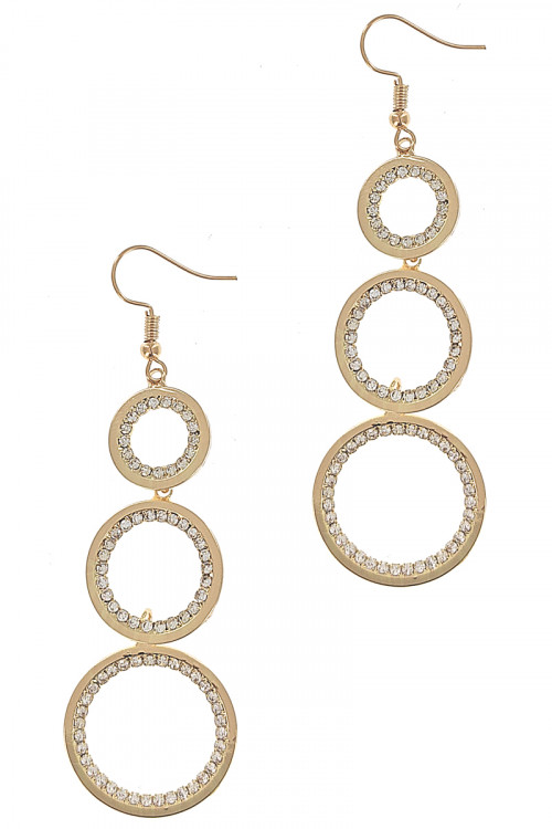 S1-2-1-LBE2227GD GOLD TRIPPLE CIRCLE DROP FASHION EARRINGS/3PAIRS