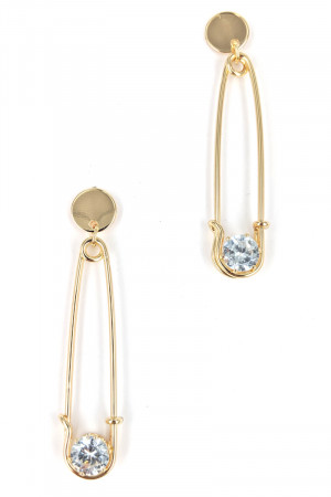 S1-2-4-LBE2230GD GOLD COLOR SAFETY PIN FASHION EARRINGS/3PAIRS