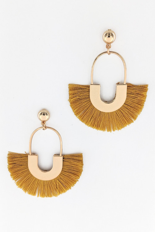 S1-2-1-LBE2276MS MUSTARD COLOR TASSEL EARRINGS/3PAIRS