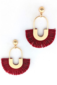 S1-2-1-LBE2276WN WINE COLOR TASSEL EARRINGS/3PAIRS