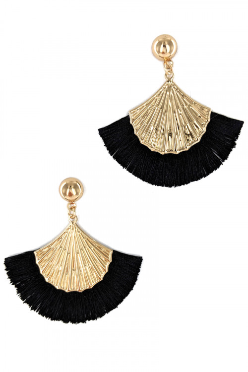 S1-2-5-LBE2277BK BLACK TASSEL WITH GOLD SHELL FASHION EARRINGS/3PAIRS