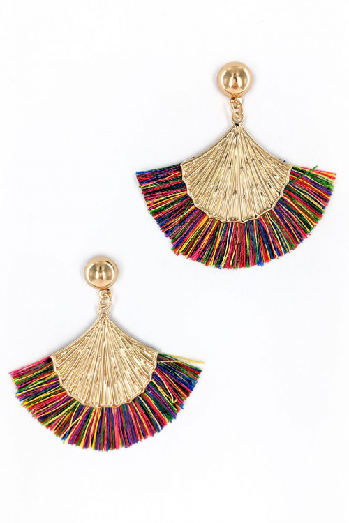 S1-7-2-LBE2277MIX MULTI COLOR TASSEL WITH GOLD SHELL FASHION EARRINGS/3PAIRS