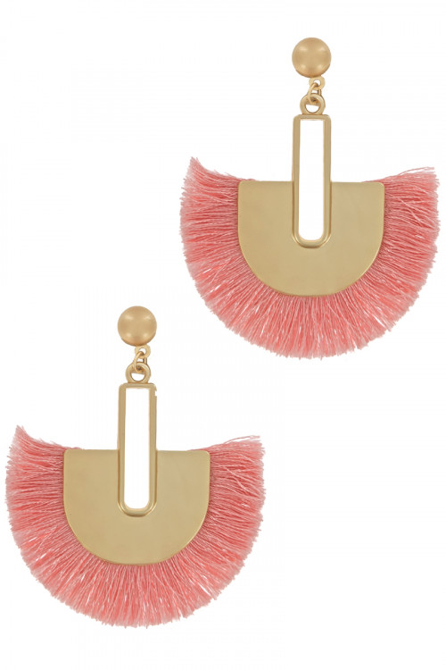 S1-3-3-LBE2278PCH PEACH MATTE GOLD WITH TASSEL EARRINGS/3PAIRS