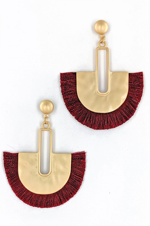 S1-3-3-LBE2278WN WINE MATTE GOLD WITH TASSEL EARRINGS/3PAIRS
