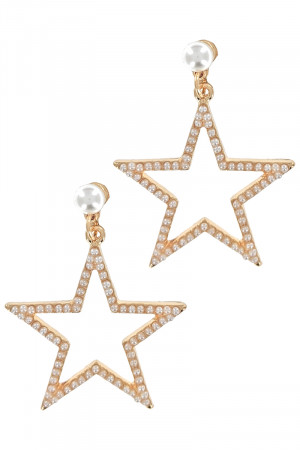 S1-8-4-LBE2304 STAR PEARL FASHION EARRINGS/3PAIRS