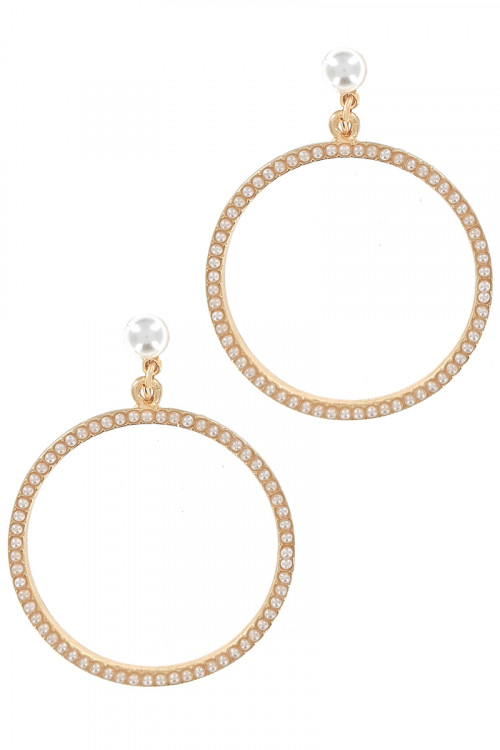 S1-1-5-LBE2305 GOLD ROUND PEARL FASHION EARRING/3PAIRS