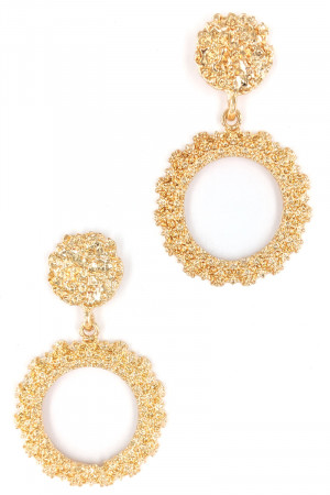 S1-4-4-LBE2310GD GOLD CIRCULAR POPCORN TEXTURE EARRINGS/3PAIRS