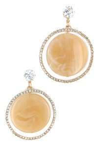 S1-3-4-LBE2313BE BEIGE MARBLE WITH RHINESTONE HOOP FASHION EARRINGS/3PAIRS