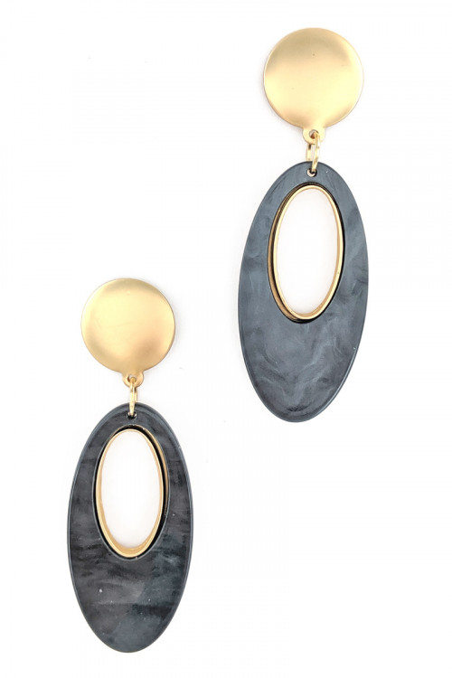 S1-1-4-LBE2320DKGR DARK GREY SEASHELL COLOR OVAL FASHION EARRINGS/3PAIRS