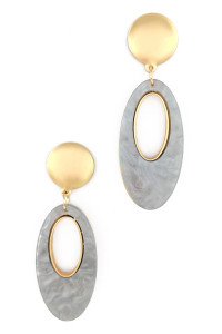 S1-1-1-LBE2320GR GREY SEASHELL COLORED OVAL FASHION EARRINGS/3PAIRS