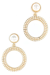 S1-1-2-LBE2322 GOLD PEARL ROUND FASHION EARRINGS/3PAIRS