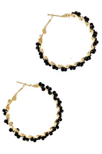 S1-4-4-LBE2323BK BLACK BEADED HOOP FAHION EARRINGS/3PAIRS